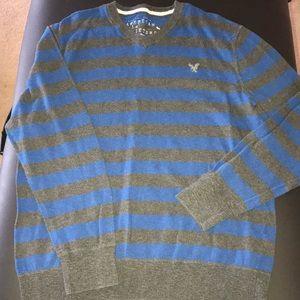 AE stripe sweater XL (blue/gray)
